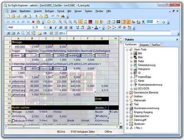 COGNEX In-Sight Explorer / Spreadsheet